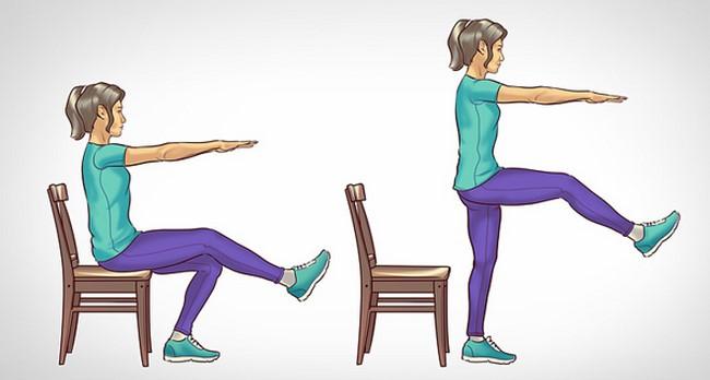 Động tác squat trên ghế