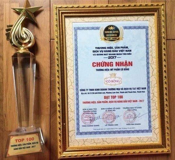 Sản phẩm kem giảm mỡ bụng Cô Bông đã đạt được nhiều giải thưởng về thương hiệu