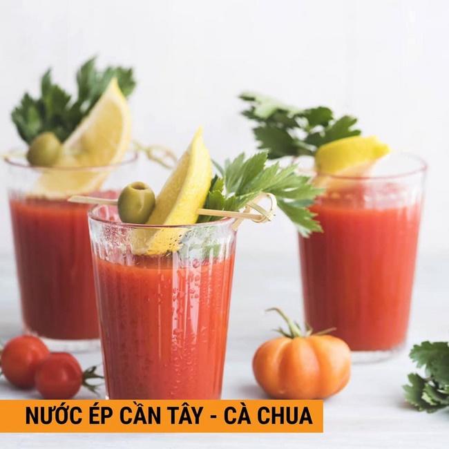 Kết hợp nước ép cần tây và cà chua, chanh tươi