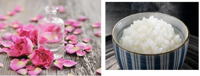 Làm sạch da bằng cơm nóng với nước hoa hồng