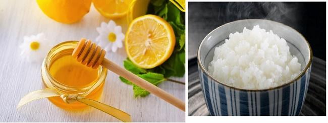Làm sạch mụn đầu đen bằng cơm nóng, chanh và mật ong