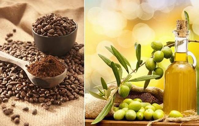 Tẩy tế bào chết bằng dầu oliu và bã cà phê