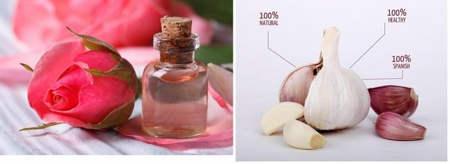 Kết hợp tỏi và nước hoa hồng