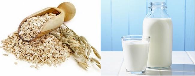 Điều trị mụn bằng sữa tươi không đường và bột yến mạch cho làn da khô