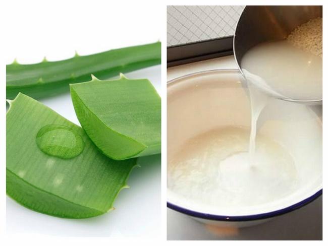 Dưỡng trắng da bằng nha đam với nước vo gạo