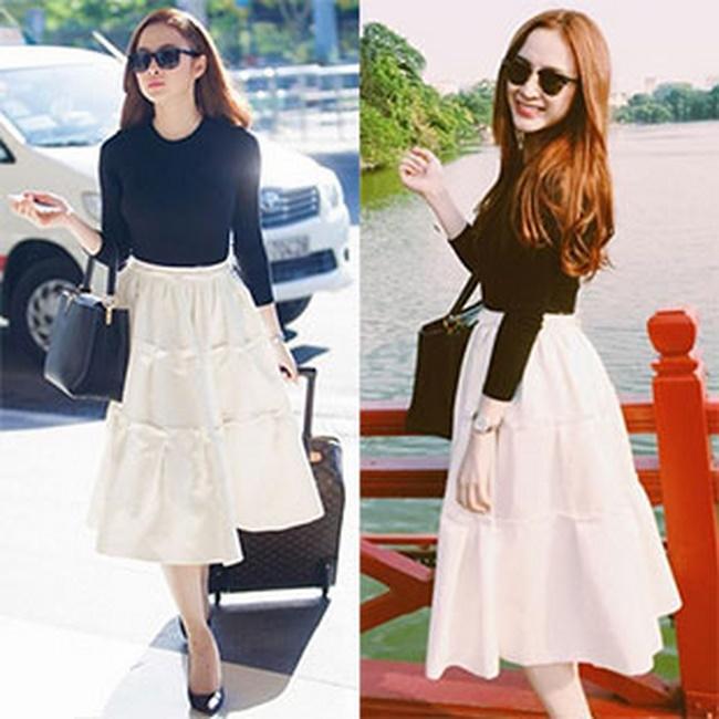 Phối chân váy vintage với áo gìhợp hơn ngoài áo thun tạo phong cách ngọt ngào
