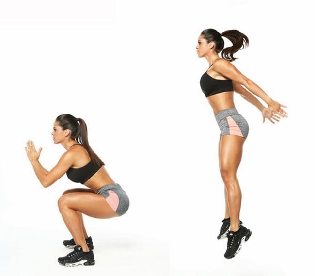 Nhảy cao kết hợp Squat - bài tập Aerobic giảm mỡ bụng hiệu quả