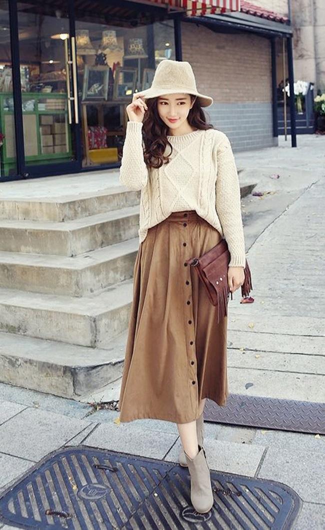 Phối chân váy vintage với áo gì - áo len vào mùa thu dạo phố