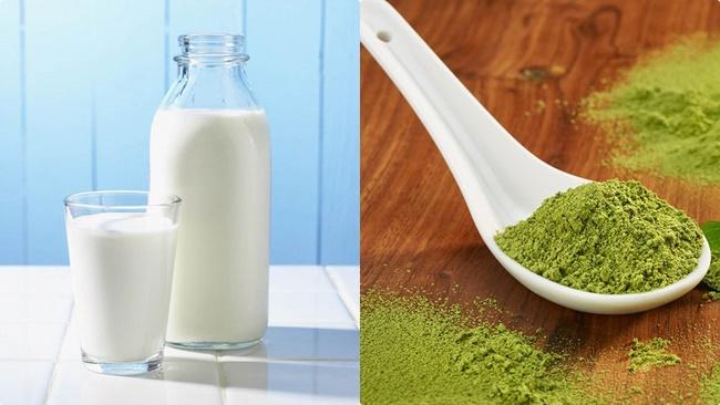 Mặt nạ sữa tươi không đường và trà xanh