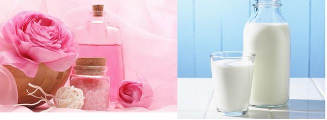 Trị mụn bằng nước hoa hồng và sữa tươi không đường