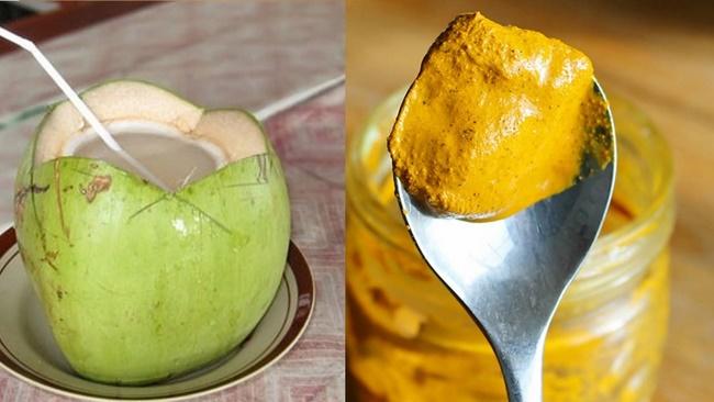 Uống nước dừa với tinh bột nghệ