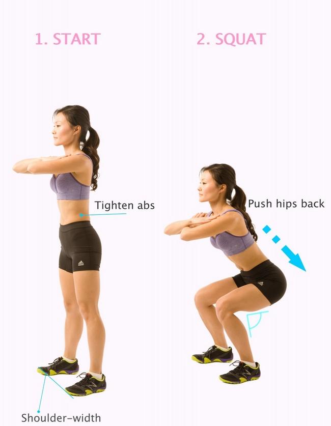 Bài tập Squat giảm mỡ bụng Body - Weight