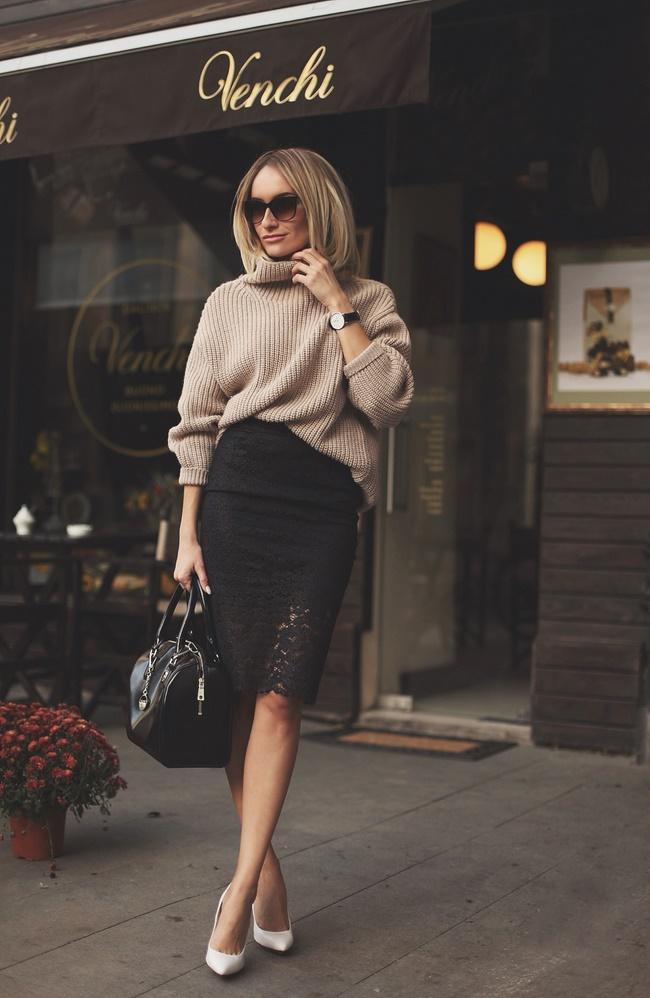 Chân váy bút chì với áo len rất phù hợp trong thời tiết se lạnh