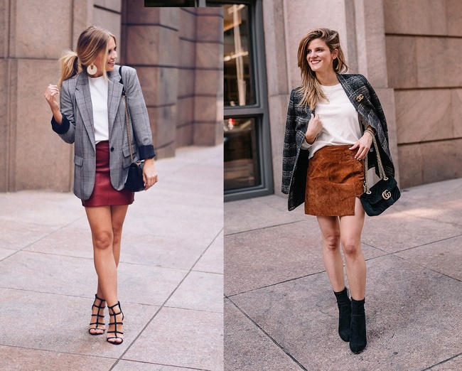 Dáng người thấp bé chọn chân váy ngắn với kiểu áo tươi sáng