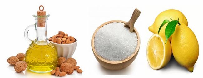 Loại bỏ tế bào chết toàn thân bằng muối và chanh, dầu hạnh nhân