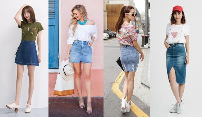 Lựa chọn giày phù hợp với chân váy Jean theo cá tính