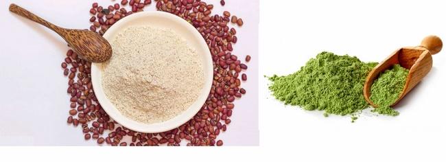Kết hợp bột trà xanh và đậu đỏlàm sạch da