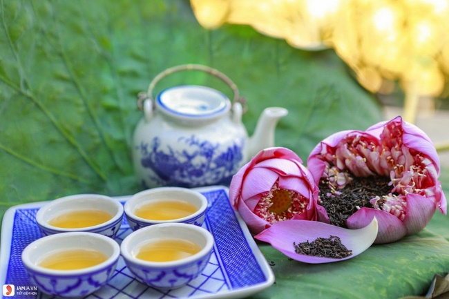 Uống nước lá sen trà xanh giảm cân